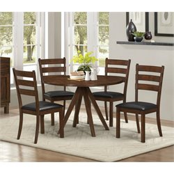 Coaster Urbana 5 Piece Round Dining Set in Vintage Cinnamon