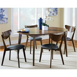 Coaster Malone 5 Piece Dining Set in Black and Walnut