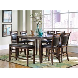 Coaster Dupree Counter Height Dining Set in Dark Brown