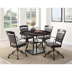 Coaster 5 Piece Round Dining Set in Dark Gray and Brown