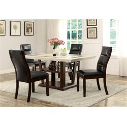 Coaster Lacombe 5 Piece Dining Set in Black and Cappuccino
