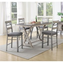 Coaster 5 Piece Counter Height Dining Set in Black