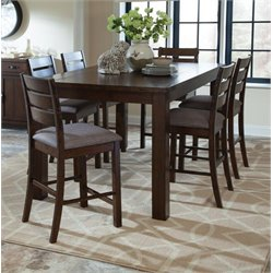 Coaster 5 Piece Counter Height Dining Set in Rustic Pecan