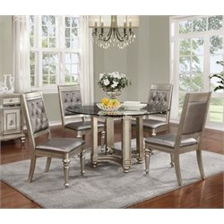 Coaster Danette 5 Piece Round Glass Top Dining Set in Platinum