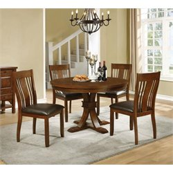 Coaster Abrams 5 Piece Round Dining Set in Dark Brown and Truffle