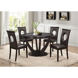 Coaster 5 Piece Round Dining Set in Dark Brown and Cappuccino