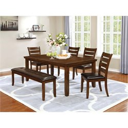 Coaster 6 Piece Dining Set in Dark Brown and Golden Brown