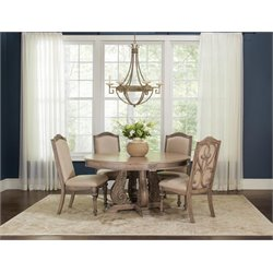 Coaster 5 Piece Round Dining Set in Cream and Antique Linen
