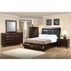 Coaster Phoenix 4 Piece Upholstered King Panel Bedroom Set