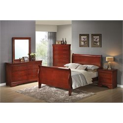 Coaster Louis Philippe 5 Piece Sleigh Bedroom Set in Red Brown