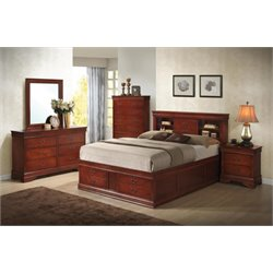 Coaster Louis Philippe 5 Piece Bookcase Bedroom Set in Red Brown