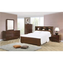 Coaster Jessica 5 Piece Bookcase Bedroom Set in Cappuccino
