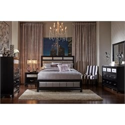 Coaster Upholstered King Panel Bedroom Set in Black