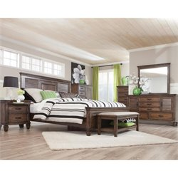 Coaster 4 Piece King Panel Bedroom Set in Burnished Oak