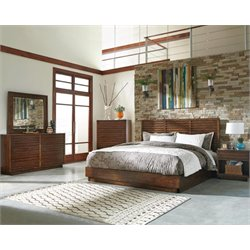 Coaster King Panel Bedroom Set in Aged Bourbon