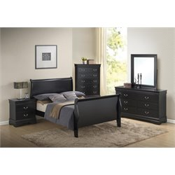 Coaster Louis Philippe 5 Piece Sleigh Bedroom Set in Black