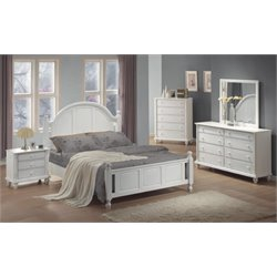 Coaster 5 Piece Panel Bedroom Set in Distressed White