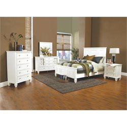 Coaster 5 Piece Panel Bedroom Set in White