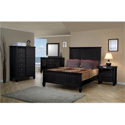 Coaster 5 Piece Panel Bedroom Set in Black
