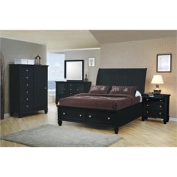 Coaster 4 Piece King Sleigh Bedroom Set in Black