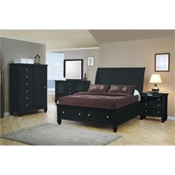 Coaster 5 Piece Sleigh Bedroom Set in Black