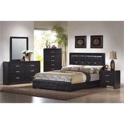 Coaster Dylan 5 Piece Upholstered Panel Bedroom Set in Black