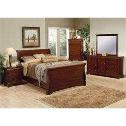 Coaster King Sleigh Bedroom Set in Deep Mahogany