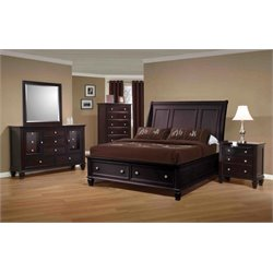 Coaster 5 Piece Sleigh Bedroom Set in Cappuccino