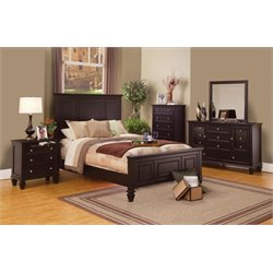 Coaster 5 Piece Panel Bedroom Set in Cappuccino