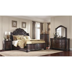 Coaster Maddison 4 Piece King Panel Bedroom Set in Brown Cherry