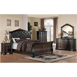 Coaster Maddison 5 Piece Upholstered Sleigh Bedroom Set in Brown