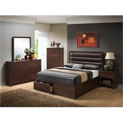 Coaster Remington 4 Piece Upholstered Panel Bedroom Set