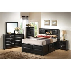 Coaster Briana 5 Piece Bookcase Bedroom Set in Black