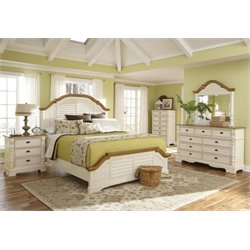 Coaster Oleta 5 Piece Panel Bedroom Set in Buttermilk