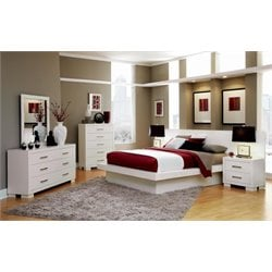 Coaster Jessica 5 Piece Platform Bedroom Set in White