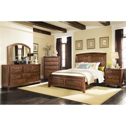 Coaster Laughton 4 Piece King Panel Bedroom Set in Rustic Brown