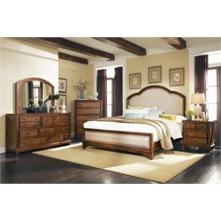 Coaster Laughton 5 Piece Upholstered Panel Bedroom Set