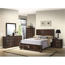 Coaster Bryce 5 Piece Panel Bedroom Set in Cappuccino