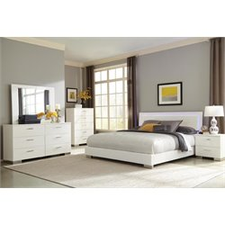 Coaster Felicity King Panel Bedroom Set in Glossy White