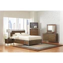 Coaster Arcadia 4 Piece King Panel Bedroom Set in Weathered Acacia