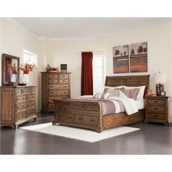 Coaster Elk Grove 5 Piece Sleigh Bedroom Set in Vintage Bourbon