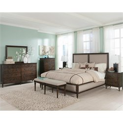 Coaster Saville 5 Piece Upholstered Panel Bedroom Set in Dark Oak