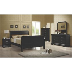 Coaster Louis Philippe Full Sleigh Bedroom Set in Black