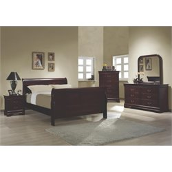 Coaster Louis Philippe Full Sleigh Bedroom Set in Red Brown