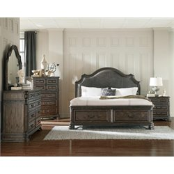 Coaster Carlsbad 4 Piece Upholstered King Panel Bedroom Set