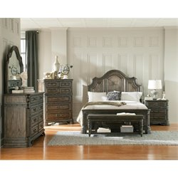 Coaster Carlsbad 5 Piece Panel Bedroom Set in Vintage Espresso