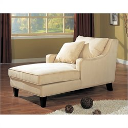 Coaster Chaise Lounger in Cream Microfiber