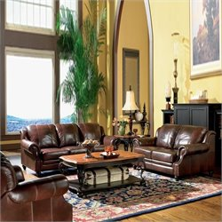 Coaster Princeton 3 Piece Leather Sofa Living Room Set in Brown