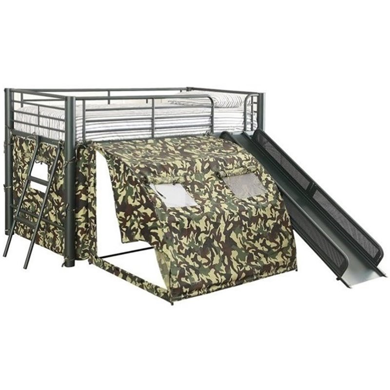 Coaster Oates Twin Size Kids Metal Loft Bed With Slide in Camouflage