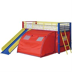 Coaster Kids Metal Twin Loft Bunk Bed with Slide and Tent